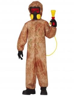 Radioaktiver-Zombie-Kostüm für Kinder mit Maske braun-rot-gelb
