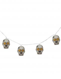 Lichterkette mit Köpfen Partydeko Halloween grau-gelb 100 cm