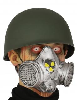 Gasmaske für Halloween Erwachsene grau-gelb
