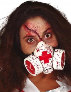 Blutige Gasmaske für Erwachsene Horrorarzt weiß-rot