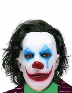 Lächelnder Psychoclown Halloween-Maske für Erwachsene bunt
