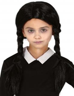Mädchen-Perücke mit Zöpfen Halloween-Accessoire schwarz