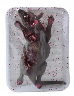 Blutige Ratte auf Serviertablett Halloween-Deko braun-rot-weiss