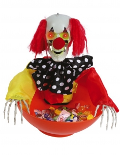 Snack-Schüssel animierter Horrorclown Halloween-Deko bunt