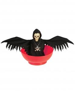 Halloween-Schüssel Sensenmann mit Licht und Geräuschen rot-schwarz