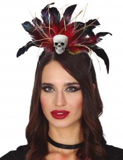Totenkopf-Haarreif Voodoo-Accessoire schwarz-rot-weiss