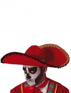 Großer Sombrero für Erwachsene Dia-de-los-Muertos-Accessoire rot