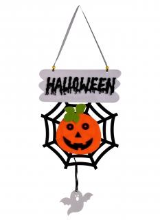 Halloween-Tür-Deko Kürbis im Spinnennetz 60 cm