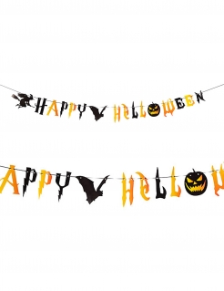 Grusel-Girlande Happy Halloween schwarz-orange 250 cm