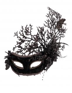 Venezianische Maske für Erwachsene mit Geäst schwarz