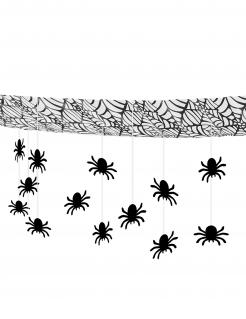 Girlande mit Spinnen für die Decke Halloween Dekoration schwarz 3 m