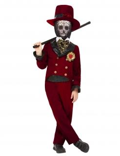Dia-de-los-Muertos Kostüm für Jungen Halloween-Anzug rot-schwarz