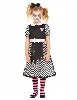Puppen-Kostüm für Mädchen Halloween weiß-schwarz