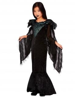 Raben-Prinzessin Gothic-Kostüm für Kinder Halloween schwarz
