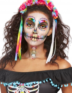 Regenbogen-Skelett-Make-up mit Haarband Halloween