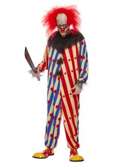 Schauriges Horrorclown-Kostüm für Herren mit Streifen Halloweenkosüm rot-weiss-blau