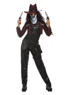 Düsteres Cowgirl Halloween-Damenkostüm braun-schwarz-weiß