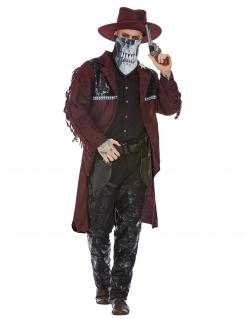 Cowboy des Todes Halloween-Herrenkostüm braun-schwarz-weiß