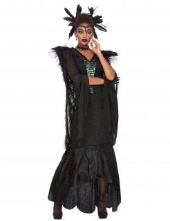 Krähen-Magierin-Kostüm für Damen Rabe Halloween schwarz