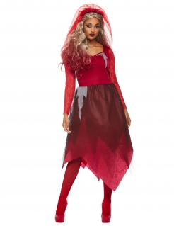 Halloween-Braut-Kostüm Kleid mit Schleier rot
