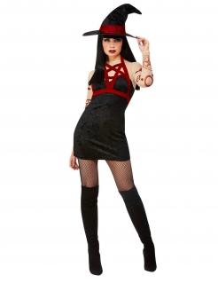 Satanistisches Hexenkostüm für Damen rot-schwarz-beige