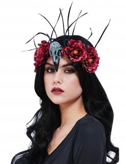 Halloween-Haarschmuck mit Blumen und Rabenschädel aus Kunststoff rot-schwarz