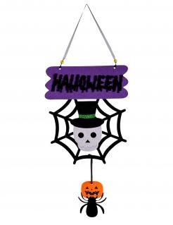 Freundliche Halloween-Deko Totenkopf und Spinne 60 cm