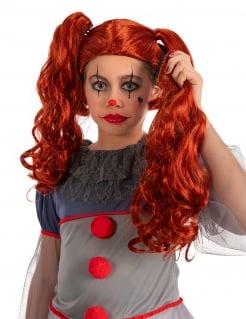 Gesteppte Clown-Perücke für Mädchen Horrorclown-Accessoire orangefarben