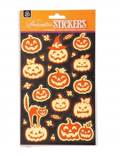Halloween-Sticker Kürbis orang-phosphoreszierend