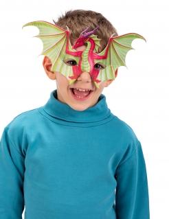 Coole Drachen-Halbmaske für Kinder rot-grün-violett