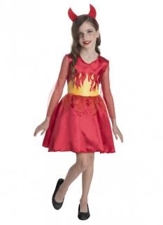Teufel-Kostüm für Mädchen Halloween rot-schwarz