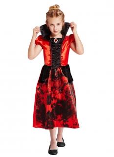 Blutrünstiges Vampir-Kostüm für Mädchen schwarz-rot