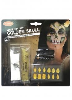 Totenkopf-Make-up Halloween gold