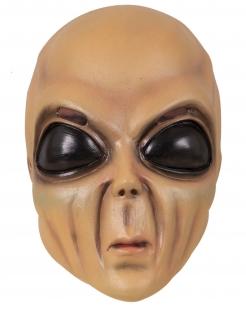 Alien Maske Latex-Maske für Erwachsene Vollmaske für Halloween beige-schwarz