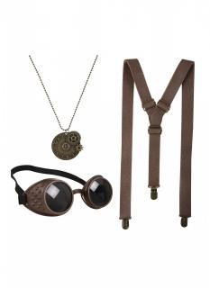 Steampunk-Accessoire-Set für Erwachsene Halloween braun-gold