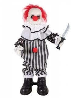 Horror-Clown-Puppe mit Licht und Sound Halloween schwarz-weiss