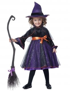 Niedliches Hexe-Kostüm für Kinder Halloween lila-schwarz-orange
