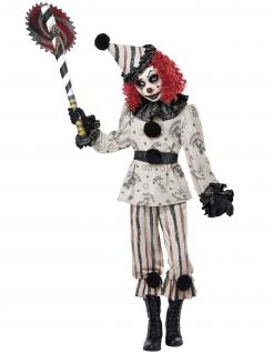Unheimliches Horrorclown-Kostüm für Kinder deluxe Halloween schwarz-weiss