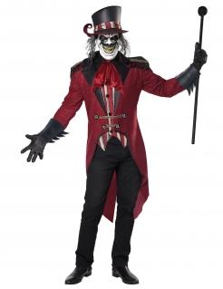 Dompteur-Kostüm für Erwachsene Halloween rot-schwarz-weiss