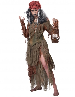 Voodoo-Magierin-Kostüm für Damen zu Halloween braun