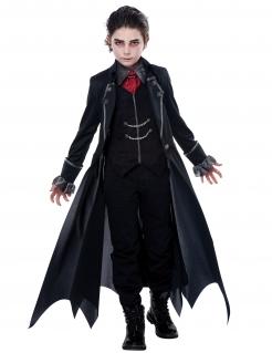 Vampir-Kostüm für Jungen Halloween schwarz-rot