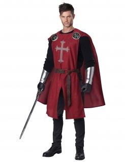 Ritter-Kostüm für Erwachsene Halloween 6-teilig schwarz-rot