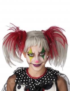 Phosphoreszierende Clowns-Perücke für Kinder rot-weiß