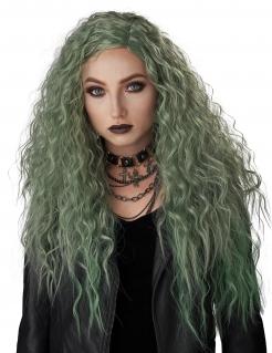 Hexe-Perücke lockig grün