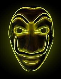 LED-Maske Bankräuber für Erwachsene Halloween gelb