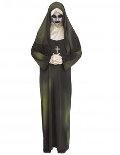 Diabolische Horrornonne Halloween-Damenkostüm schwarz-weiß-grün