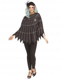 Spinnennetz-Kostüm für Damen schwarz-silberfarben