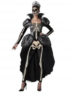 Düstere Skelett-Königin Halloween-Kostüm für Damen schwarz-weiß-grau