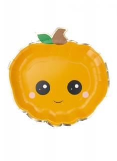Niedliche Kürbis-Teller mit Gesicht 8 Stück orange 23 cm