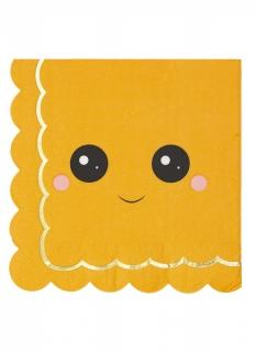 Niedliche Kürbis-Servietten mit Gesicht 16 Stück orange 33 x 33 cm